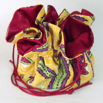 Jewelry Drawstring Travel Pouch Calypso in Yellow Medium