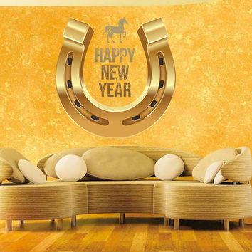 Full color decal Horseshoe Happy New Year sticker, colored wall art decal gc390