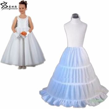 2017 New Three Circle Hoop Children Kid Dress Slip White Ball Gown Flower Girl Dress Wedding Accessories Petticoat