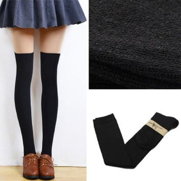 Vogue New Girls Womens Lady Thigh High OVER Knee High Socks Long Cotton Stockings