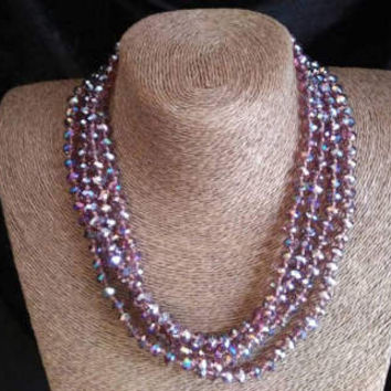 Now On Sale Vintage Long Necklace - Purple Iridescent Crystal Glass Flapper Jewelry - 78 Inches - High End Estate Jewelry