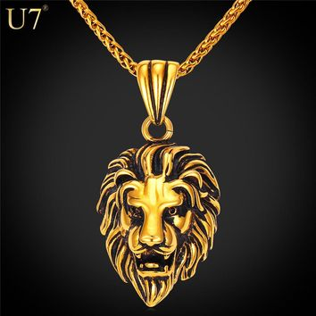 U7 Black Lion Charms Necklace Rock Punk Style Men/Women Retro Jewelry Gold Color Stainless Steel Chain Necklace & Pendant P807