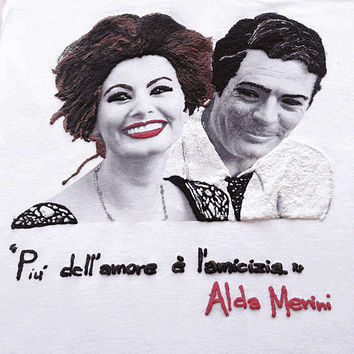 Sophia Loren and Marcello Mastroianni T-shirt. The Friendship