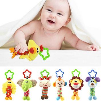 6 Style Baby Bed Car hanging Rattle Stick Stuffed Plush Doll Toy Toys Puzzle Bell Ring Infant Puppet Animal FL