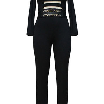 Black Slash Cut Out Long Sleeve Jumpsuit with Chain Detail