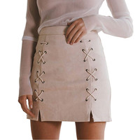 SMOVES Vintage High Waist Tie Up Women Lace Up Suede Skirt Mini Pencil Skirt Autumn Winter Spring Preppy Fall Skirt New SK138