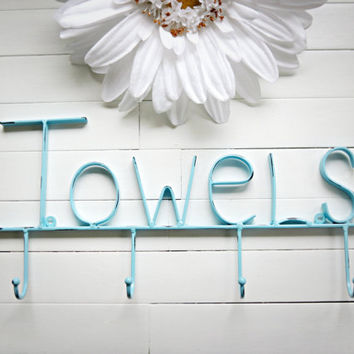 Aquamarine / Towel Holder / Metal Wall Sign / Pool Decor / Beach Decor /  Towel