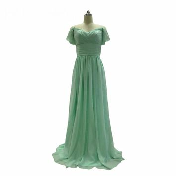 Elegant Wedding Party Bridesmaid Dresses Long Mint Green Chiffon Off the Shoulder Bridesmaid Gowns Robe Formal