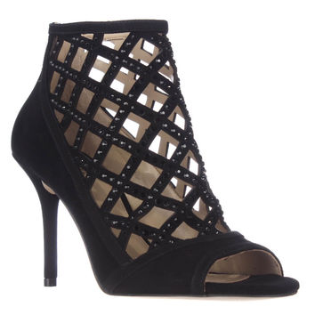 MICHAEL Michael Kors Yvonne Caged Open Toe Dress Sandals - Black Suede