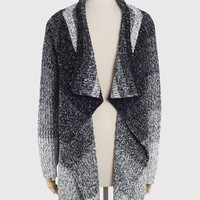 Gray Scale Wool Knit Cardigan