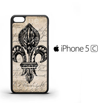 Vintage Brown Fleur de Lis A1343 iPhone 5C Case