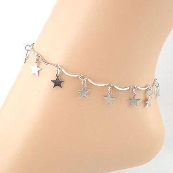 ZB 14 Lines Pentacle Pendant Anklet Bracelet Sandal Barefoot Beach Foot Jewelry