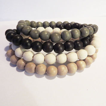 Wooden 8mm Stretch Bracelet - Wooden jewelry For Him or Her  - Simple Handmade Jewelry
