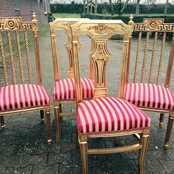 Antique French Louis XVI 4 Piece Set Dining Chairs Refisnihed Gold Leaf & Reupholster Red Stripes Baroque Rococo