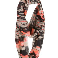 geo print infinity scarf with frayed edges