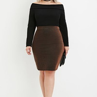 Plus Size Metallic Knit Pencil Skirt