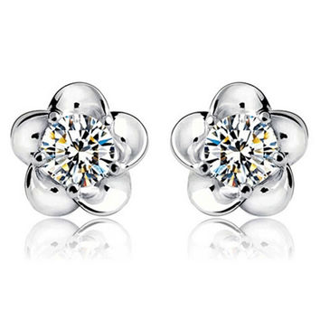 Silver Plated Ball Earrings Wild Super Flash Retro Crystal Jewelry Long Section Of Models Cute Earrings SM6