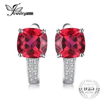 JewelryPalace 4ct Pigeon Blood Red Ruby Engagement Wedding  Solid 925 Sterling Silver Earrings  Clip Fine Jewelry Brand New