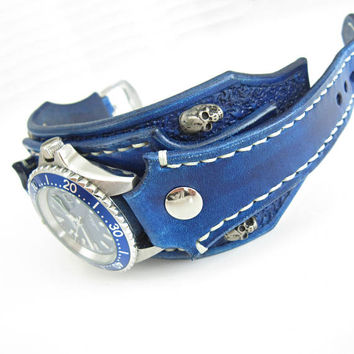 Leather Skull Watch, Gothic Watch, Bikers Jewelry, Blue Leather Watch, Mens Watch, Quartz Watch