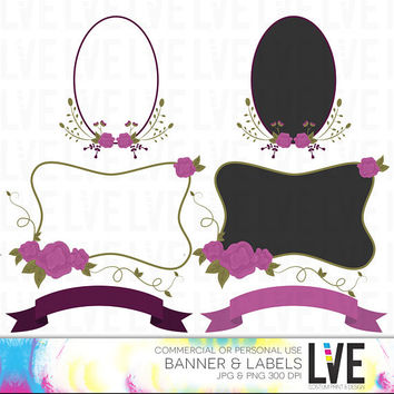 Flowers Labels & Banners  Clip Art Images, Vector Graphics, Vector Images, Digital Clipart Commercial or Personal Usage - Instant Download