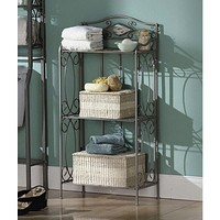Bathroom Linen Rack with 3 Shelves in Classic Pewter Metal Finish