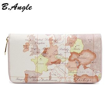 High quality world map white wallets fashion purse brand design women wallets men card holder women clutch long zipper wallet