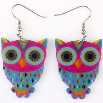 Drop Owl Earrings Long Dangle Earring Acrylic Cute Animal Pattern Fashion Jewelry For Women New Style Accessories