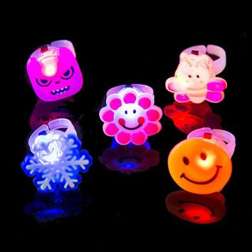Color Random Kids Toy Led LED Flashing Light Ring Flashing Party Soft Rave Glow Jelly Finger Rings