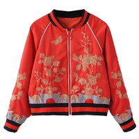Red Stripe Detail Embroidery Bomber Jacket
