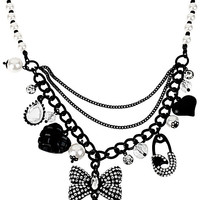 BetseyJohnson.com - JET SET BOW MULTI CHARM NECKLACE CRYSTAL