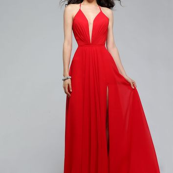 Faviana 7747 Red Deep V-Neck Chiffon Evening Gown