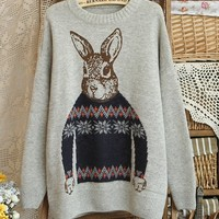 A 081202 Rabbit jacquard round neck pullover sweater coat