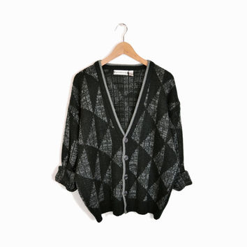 Vintage Saturdays Surf NYC Triangle Cardigan in Black & Gray - L