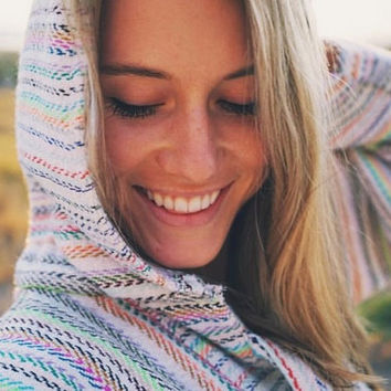 Mexican Threads Baja Drug Rug Hoodie Pullover Sweatshirt | Baja Jacket Poncho Cream Rainbow | Boho Gypsy