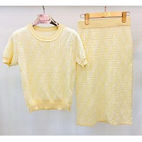 FENDI Summer Hot Sale Women Slim F Letter Knit Top Skirt Set Two-Piece Yellow