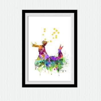 Little Prince print Little Prince poster The Little Prince wall art Watercolor print Home decoration Kids room wall decor Nursery room W339