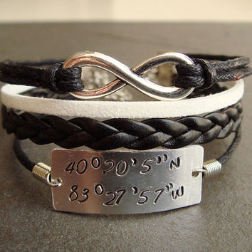 Latitude Longitude Bracelet, Customizable Coordinates Engraved Bracelet- PERSONALIZED to Your Favorite Location