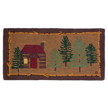 Cabin In The Woods Hooked Wool Rug 2'L × 4'W