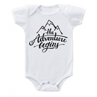 New Baby The Adventure Begins Mountain Onesuit, Newborn Clothes, Hipster Baby Clothes, Baby Shower Gifts, Coming Home Baby Outfit