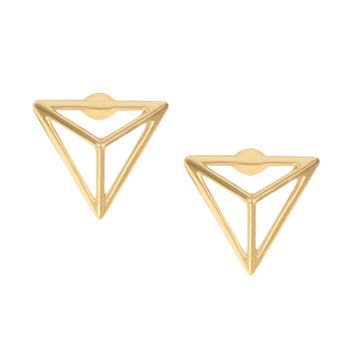 Gold Cut Out Triangle Earrings