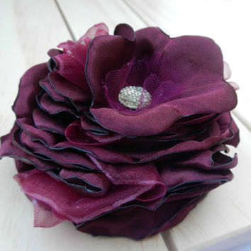 BURGUNDY Flower Hair Clip, Crimson Rose Fabric Flower FHP-0023