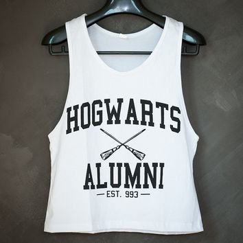 Hogwarts Alumni Harry Potter Sexy Sideboob Tank Top Low Cut Cropped Shirt Size S or M