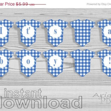 WEEKEND SALE 50% OFF It's a boy // printable blue baby cloth banner // baby boy shower // Diy party decoration // blue gingham // instant do