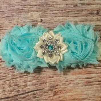 Beautiful Aqua and Cream Fancy Bling Baby Girl