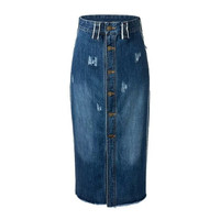 Summer Women's Fashion High Rise Split With Pocket Denim Skirt [4920259396]