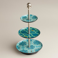 Blue Geo Floral Three-Tired Jewelry Stand - World Market