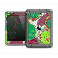 The Bright Pink and Green Flowers Apple iPad Mini LifeProof Fre Case Skin Set