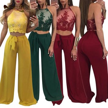 New Arrival Fashion Outfits Mesh Embroidery Halter Top With Flare Pants Summer Women Two Piece Set