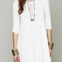 White Long Sleeve Dress with Low Back