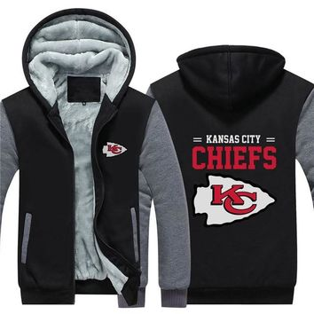 NFL American football Men's winter casual jacket Warm thicken hoodies Kansas City Chiefs